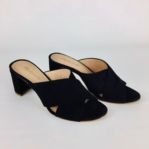 Madewell Greer Black Suede Mule Slide Sandals 7